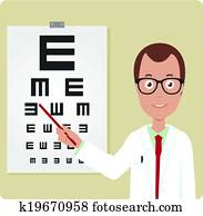 Ophthalmologist and eye chart. Vector illustration
