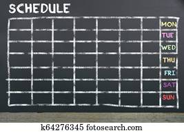 Schedule on chalkboard for planning