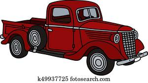 Classic red small truck