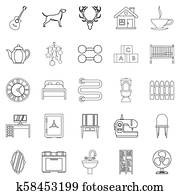 Cozy home icons set, outline style