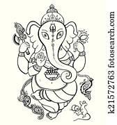 ganesha, hand, gezeichnet, illustration.