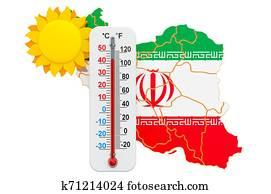 Heat in Iran concept. 3D rendering