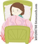 Kid Girl Sleep Bed Illustration
