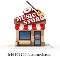 Music store shop front 3d rendering