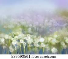 Oil paintings white dandelion flower in the meadows