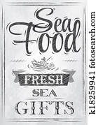 Poster Sea food. Coal.