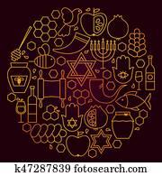Rosh Hashanah Line Icon Concept