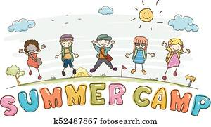 Stickman Kids Summer Camp Lettering Illustration