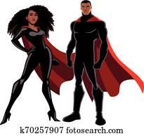 Superhero Couple Black on White