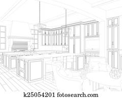3d sketch of kitchen and dining int