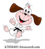Cartoon dog martial arts