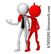 Devil whispering to Businessman. Unfair business metaphor