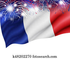 France flag with firework on white background for bastille day