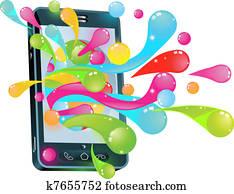 mobilfunk, gelee, blase, begriff