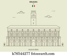 Palazzo del Podesta in Bologna, Italy. Landmark icon