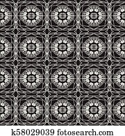 Abstract black and white floral seamless pattern. Vector monochr