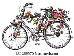 Bike with flowers, design element