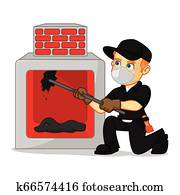 Chimney Sweeper cleaning fireplace