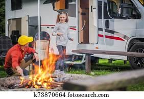 Family RV Road Trip Campsite