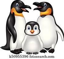 karikatur, glücklich, pinguin, familie, freigestellt, wei?, hintergrund