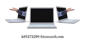 mock up opened laptop with human arms on white background