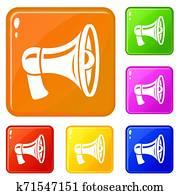 Retro megaphone icons set color