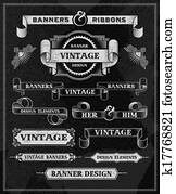 Vintage retro banner scroll set