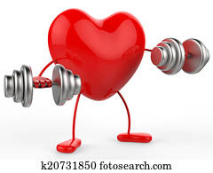 Weights Heart Shows Get Fit And Aerobic