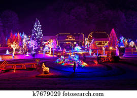 Christmas fantasy - trees and houses in lights