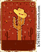 Cowboy christmas card for text. Vintage poster