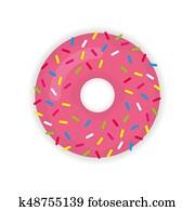 Donut icon modern flat illustration