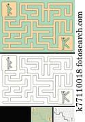 Easy alphabet maze - letter K