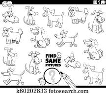 find two same dogs game coloring book page