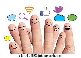 Happy finger smileys with social network sign. Isolated