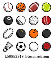 play sport balls logo icon isolated objects set
