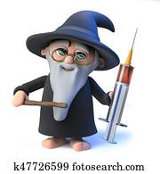 3d Funny cartoon wizard magician character holding a medical syringe