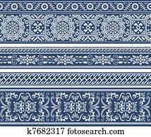 artistic border seamless pattern