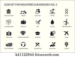 Business icons and symbols of various industries / business sectors like consulting, tourism, hospitality, agriculture, renewable energy, real estate, consumer services, construction, financial services