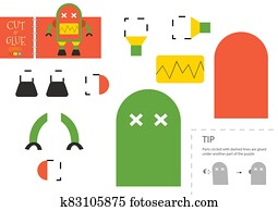 Cut and glue paper toy. Vector illustration, worksheet with cartoon robot