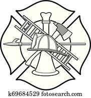 Firefighter Honor Badge Illustration
