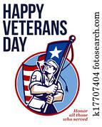 American Veteran Serviceman Greeting Card