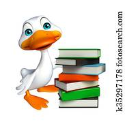 cute Duck cartoon character with book stack