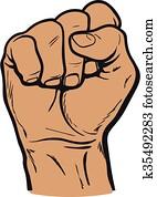 hand, shows, dass, faust, als, a, symbol, von, macht