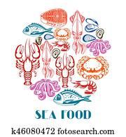 hintergrund, mit, unterschiedliche, seafood., abbildung, von, fish,, schaltier, und, krustentiere