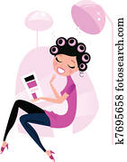 niedlich, schoenheit, frau, in, rosafarbenes haar, salon, freigestellt, wei?