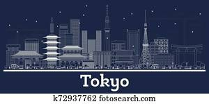 Outline Tokyo Japan City Skyline with White Buildings.