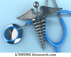 Stethoscope with caduceus symbol. 3d