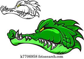 Clipart debout sur a crocodile bouche k17414247 recherchez des cliparts des - Dessin anime crocodile ...