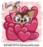 Cute Cartoon Puppy Girl in hearts