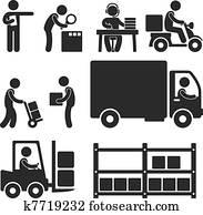 logistisch, lager, auslieferung, symbol